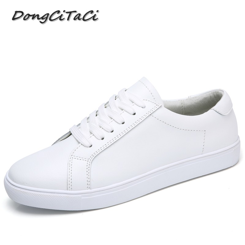 DongCiTaCi  Women Genuine Leather Flat Casual Shoes Woman Round Toe Loafers Female Soft Footwear Lace up Student White ShoesDongCiTaCi  Women Genuine Leather Flat Casual Shoes Woman Round Toe Loafers Female Soft Footwear Lace up Student White Shoes