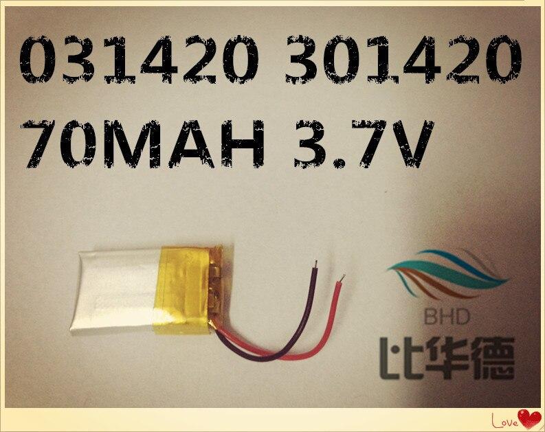 1 PCS 031420 301420 70MAH 3.7V lithium battery MP3 Bluetooth headset small toys battery 3 7v lithium polymer battery 302033 100mah mp3 mp4 battery audio clip small toys