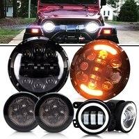 75W 7 Inch Round LED Headlight Hi Lo Beam With DRL 4 Inch 30W LED Fog