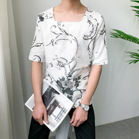 2018 Summer Man Fashion In National Customs Chinese Ink Printing Flax Short Sleeve Square Lead T