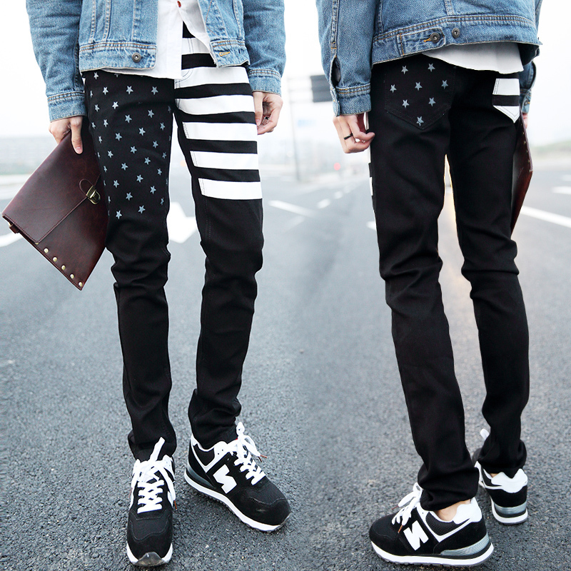 2014 New Spring American flag jeans for men water wash hole jeans ...