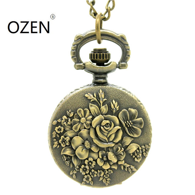 (3099) 12pcs/lot Vintage bronze lovely rose flower pocket Watch Necklace, Watch