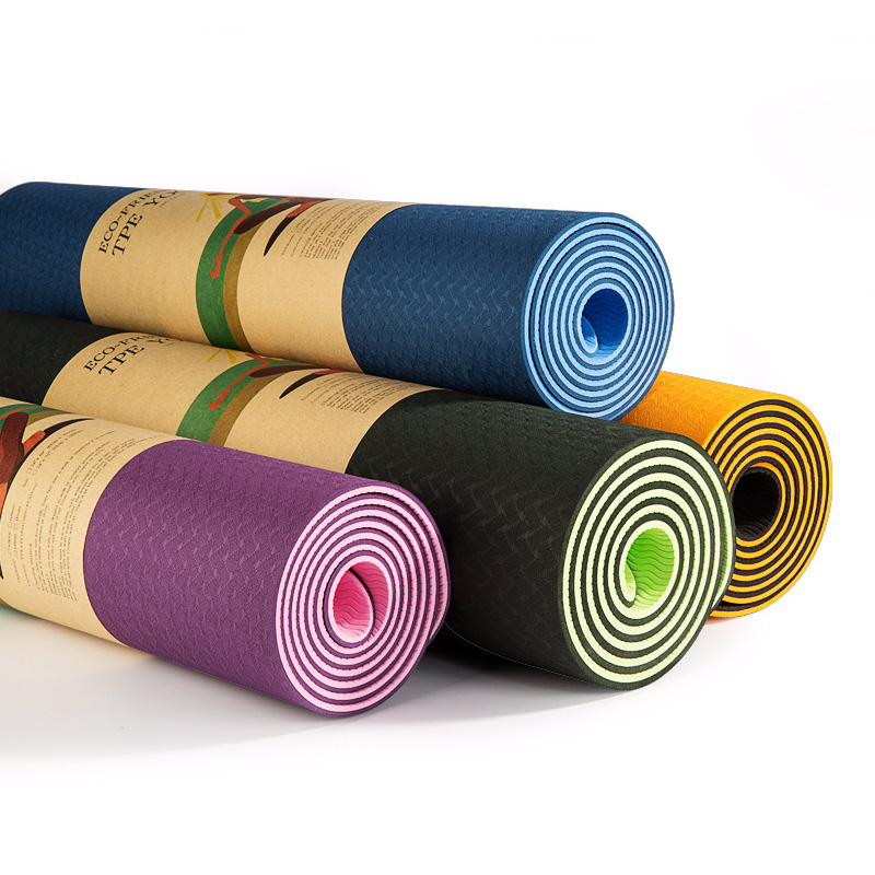 Yoga Mat with Strap 2018 New Eco Friendly Non Slip Exercise TPE Yoga Mat for Men & Women Outdoor and Indoor 1830*610*6MM