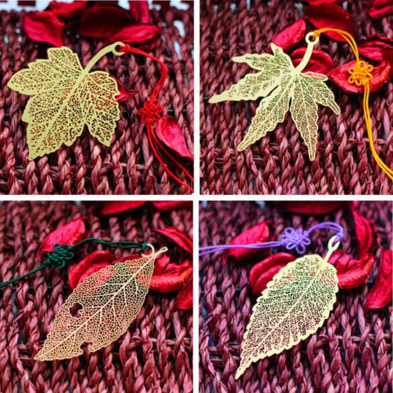 Student Cute Metal Golden Book Marker Vintage Mulberry Maple Leaf Bookmarks For Books School Supplies 3027