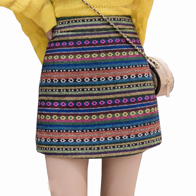 2018 Autumn Winter Woolen Printing Sexy Women's Skirt Slim Fashion A Word Skirt High Waist Mini Saia Plus Size Faldas Mujer Moda