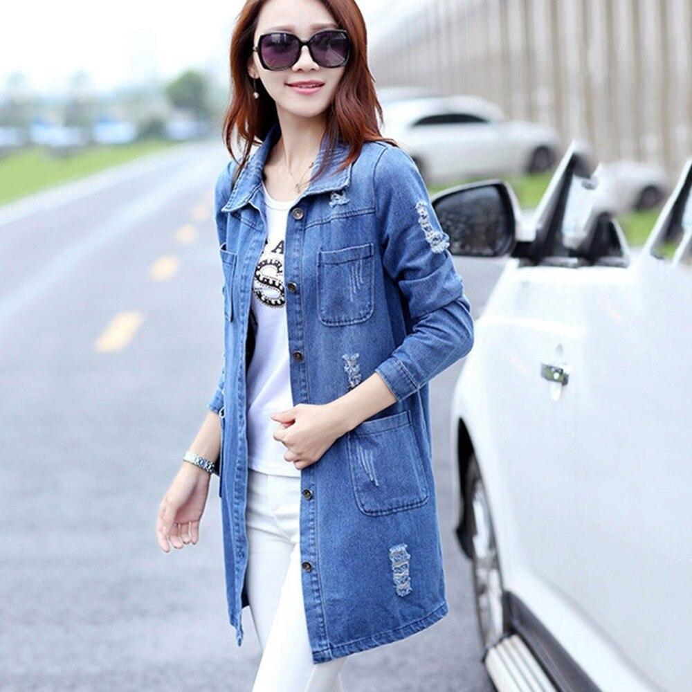 Slim Vintage Base 5xl Manches Trous Automne 2 Veste De Longues Bleu Vêtements Jeans Et Déchiré Printemps Femmes Manteau Outwear Feminino Denim SXXEqxCvw