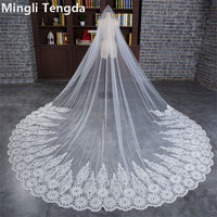 Sequins Lace Cathedral Veils 5 M Long Wedding Veil with Metal Comb Mingli Tengda Sticky Diamon Widen Luxury Ivory Bridal Veil