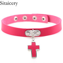 Sitaicery PU Leather Cross Necklace & Pendants 2019 Gothic Punk Choker Necklace Women Men Jewelry Statement Necklace Wholesale gothic pu leather choker necklace