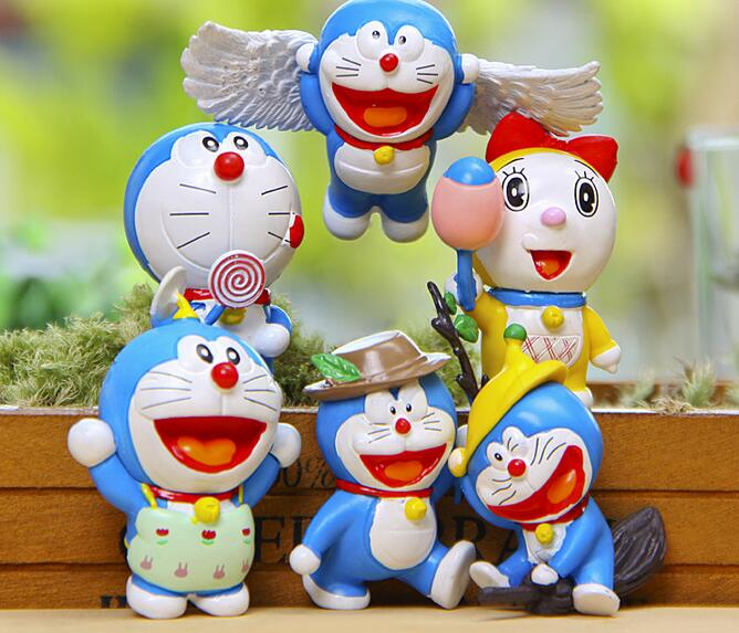 6pcs lot Doraemon Mini Figures Cute Flying Doraemon Dorami Classic PVC Action Figure Toys Collection Model