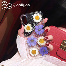 Qianliyao Luxury Real Dried Flower Phone Case For iPhone 6 6S 7 8 Plus X Cases Transparent Soft TPU Silicon Shockproof Cover