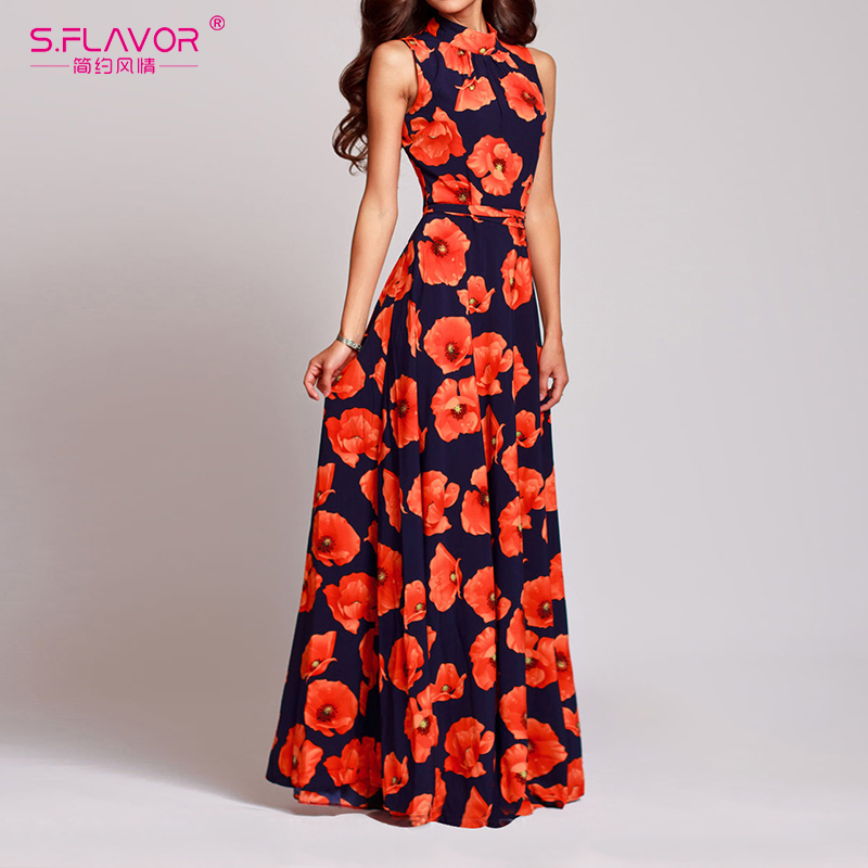 S.FLAVOR Women floral Print Dress Bohemian Style Sexy Casual O Neck Sleeveless Vintage Long Dress Elegant Party Vestidos
