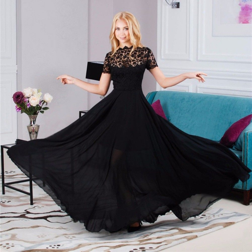 2018 Fashion Designer Long Party Dress Women's Short Sleeve Vintage Lace Hollow out Patchwork Maxi Black Dress