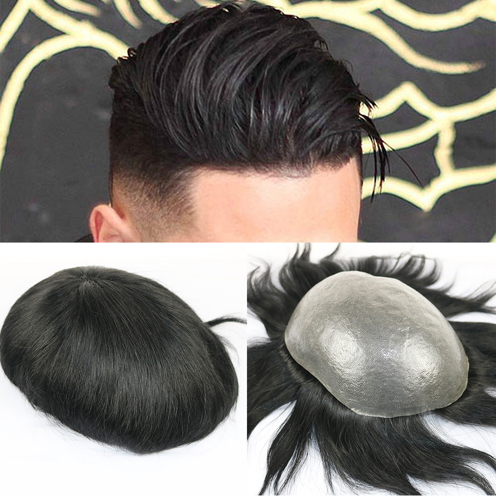 SimBeauty Full PU Men Toupee Durable 0.06-0.08mm Skin Natural Looking Remy Hair Men Wig Human Hair Full PU Replacements Toupee