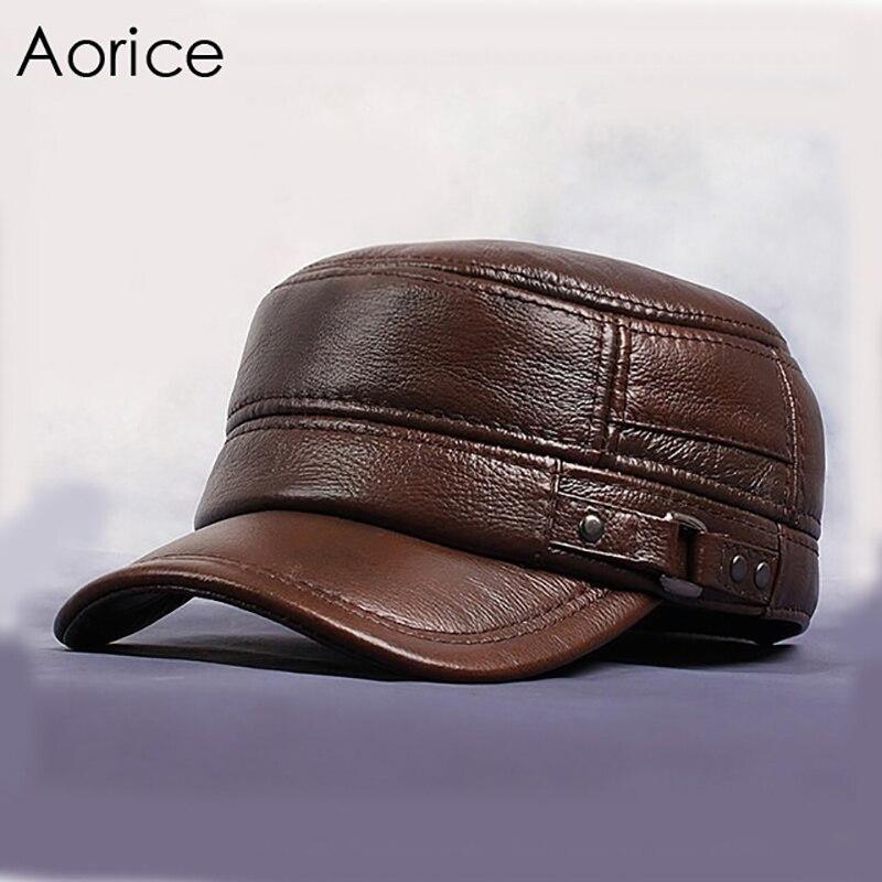 Aorice Для мужчин Пояса из натуральной кожи воловьей Кепки осень-зима тепло одноцветное Цвет коричневый, черный для взрослых Регулируемая мод...