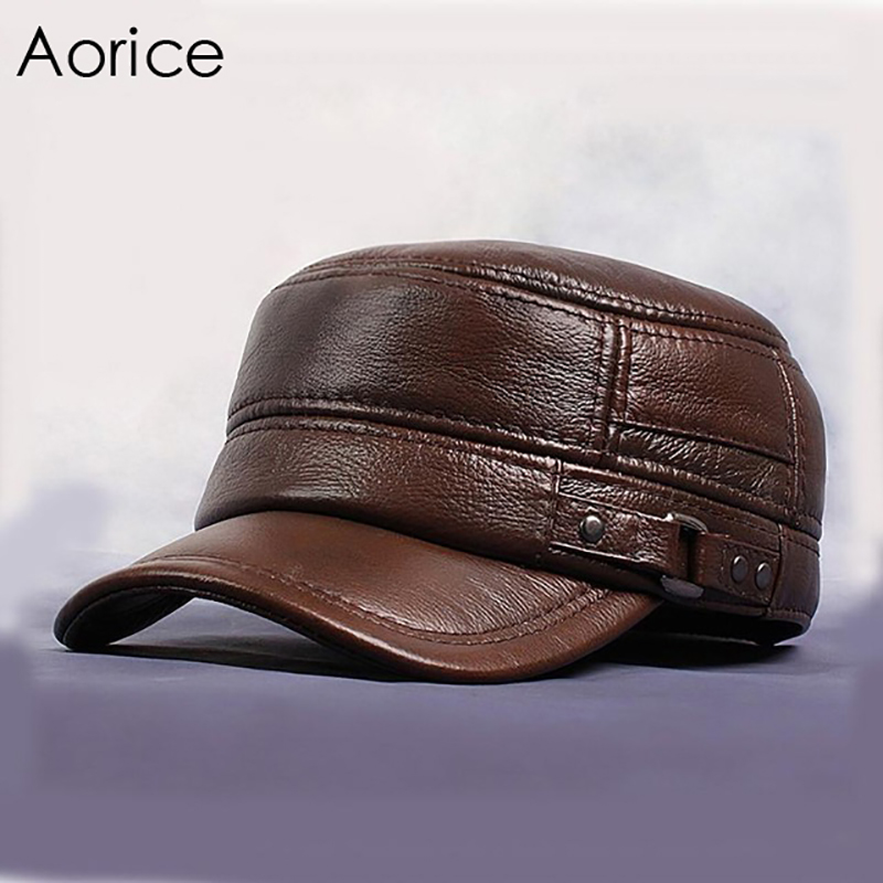 Detail Feedback Questions about Aorice Men Genuine Leather Cowskin Cap  Autumn Winter Warmth Solid Color Brown Black Adult Adjustable Fashion Hats  HL064 on ... 404a0c7f836b