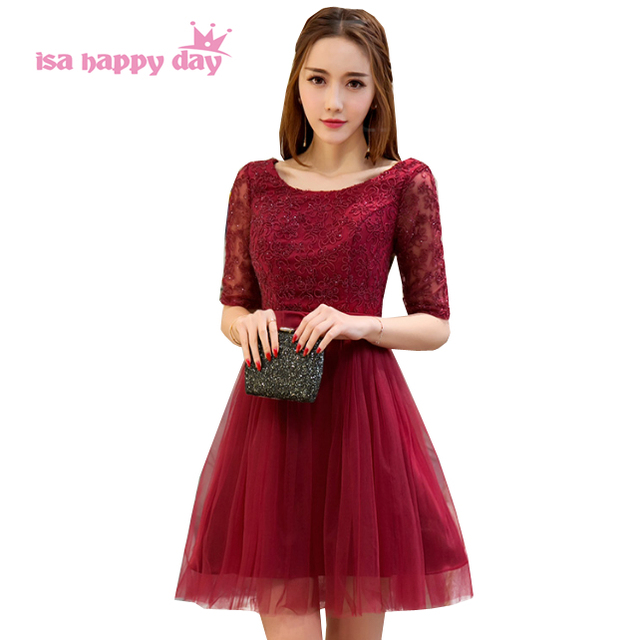 womens deep red super sexy elegant lace and bowed gown sleeved gowns prom dress  lace short party dresses women 2017 H4116 956df06a37