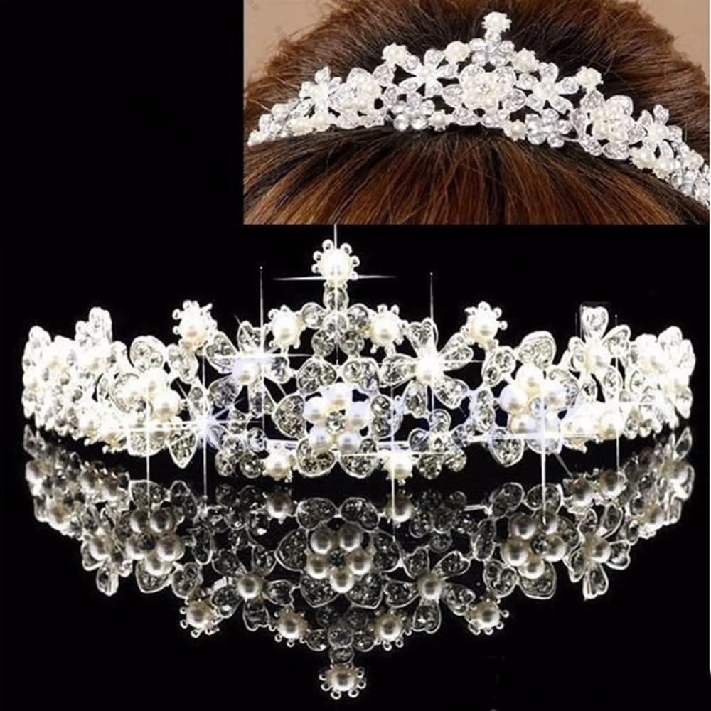 Wedding Prom Flower Headband Hair Bridal Bridesmaid Rhinestone Pearl Crown Tiara