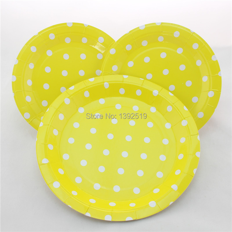 Free Shipping 48pcs Yellow Polka Dot Paper Party Plates Party Cake Plates Birthday Party Paper Plates