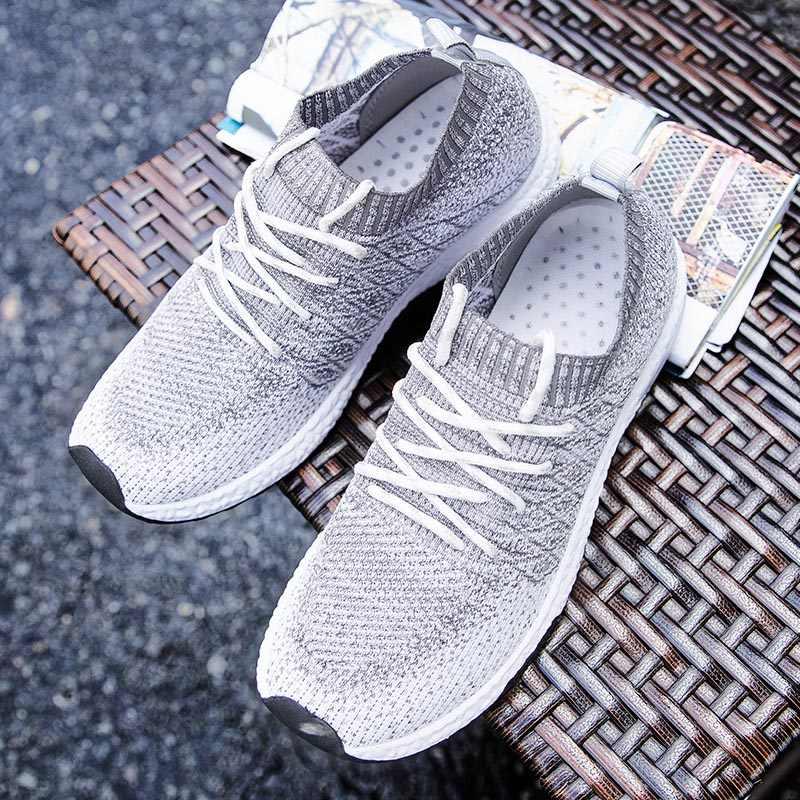 2019 รองเท้าผู้ชาย Breathable Air Mesh Men รองเท้าสบายๆลื่นฤดูใบไม้ร่วงถุงเท้ารองเท้าผู้ชายรองเท้าผ้าใบ Tenis Masculino Adulto PLUS ขนาด 46