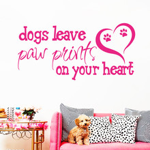 Art Design Dogs leave paw prints on your heart home decoration Vinyl Wall sticker house decor English words character Decal