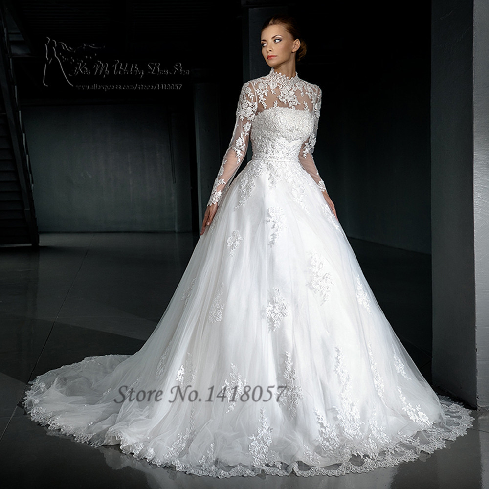 Popular High Neck Long Sleeve Wedding Dress Buy Cheap High