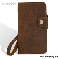 Luxury Genuine Leather flip Case For Samsung S7 retro crazy horse leather buckle style soft silicone bumper phone flip cover