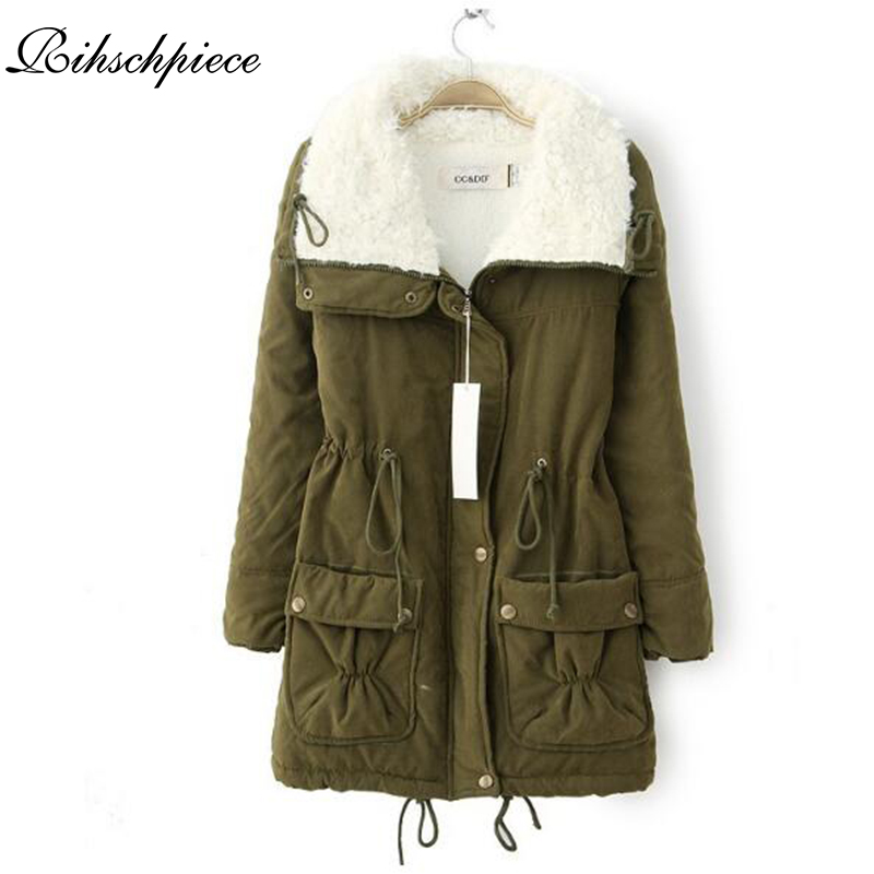 Rihschpiece 2018 Winter Velvet Collar   Parka   Jacket Women Long Cotton Padded Coat Amry Green Thick Clothes RZF1343