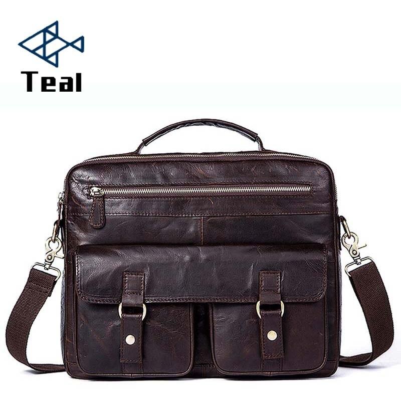 Business Shoulder Bag Men Briefcases Genuine Leather Vintage Office Bags Natural Crazy Horse Skin Men Laptop Bag High Quality