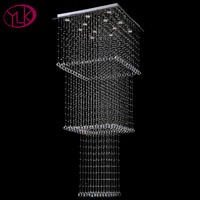 Luxury Square Modern Crystal Chandelier Long Staircase LED Lustres De Cristal Foyer Hang Lighting Fixtures For
