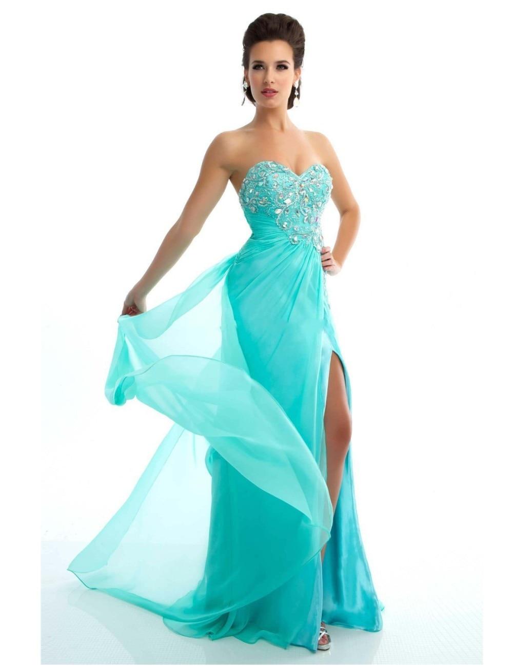 Sexy High Side Slit Beaded Crystal Chiffon Prom Dresses Formal Women ...