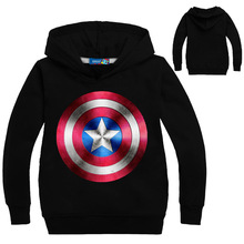 Boys Long Sleeve T-Shirt Fashion Cartoon Hooded Captain America Print Children Clothes Cotton Baby Girl Tops Tee Kids Sweatshirt недорого