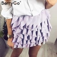 BerryGo Ruffle elegante lolita saias curtas plissadas mini saia de cintura alta Mulheres Party club sexy saias inferior feminino rosa