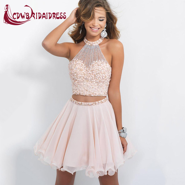 fd3a08c118 Charming Two Piece Light Pink Homecoming Dresses With Beaded Bodice  Graceful Chiffon Halter Short Lively Cocktail Party Gowns