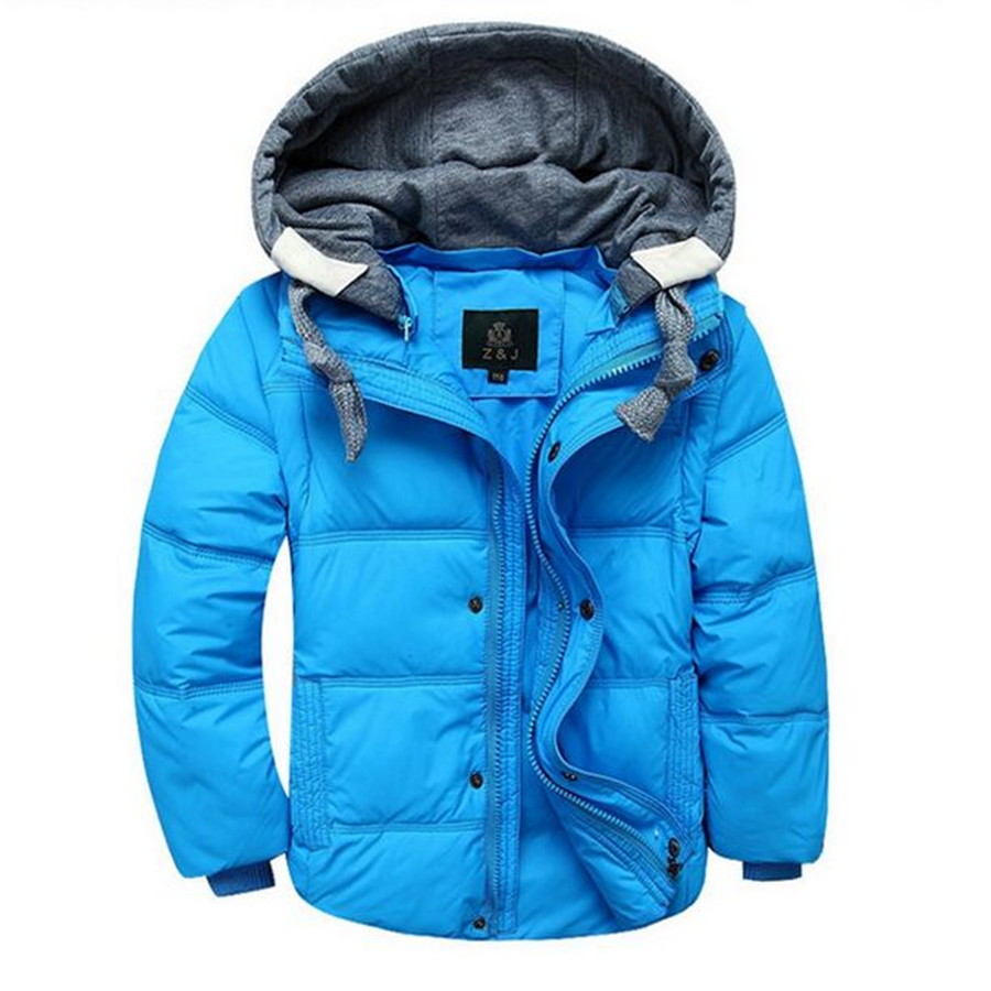 ФОТО 2016 New Winter Children's Boys Down & Parka Coats Down Jacket Fshion Solid Hooded Outerwear Boys 6 Color Optional or 4-12T