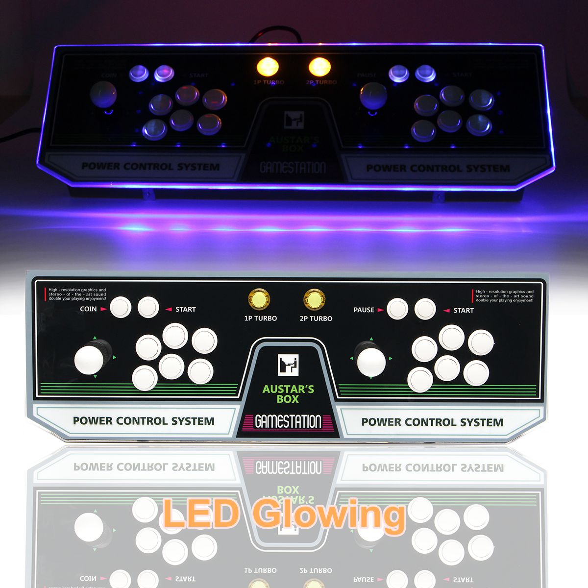 Box 5S 1299 in 1 Dual Player Double Joystick Arcade Game Console with Button Light Coin Operated Games стоимость