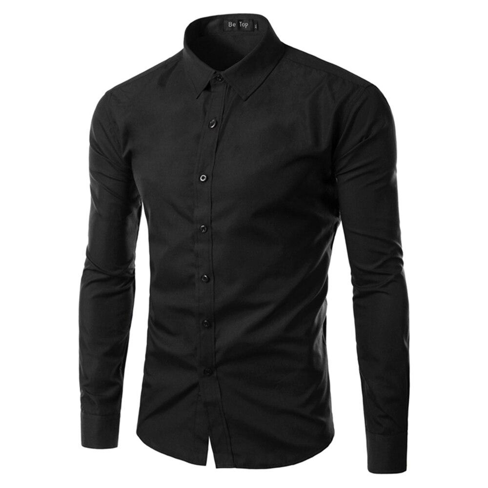 2017 Fashion Brand Mens Shirt Long Sleeve Camisa Masculina Men's Clothing Casual Dress Shirts Solid Color Work Wear Men 6492