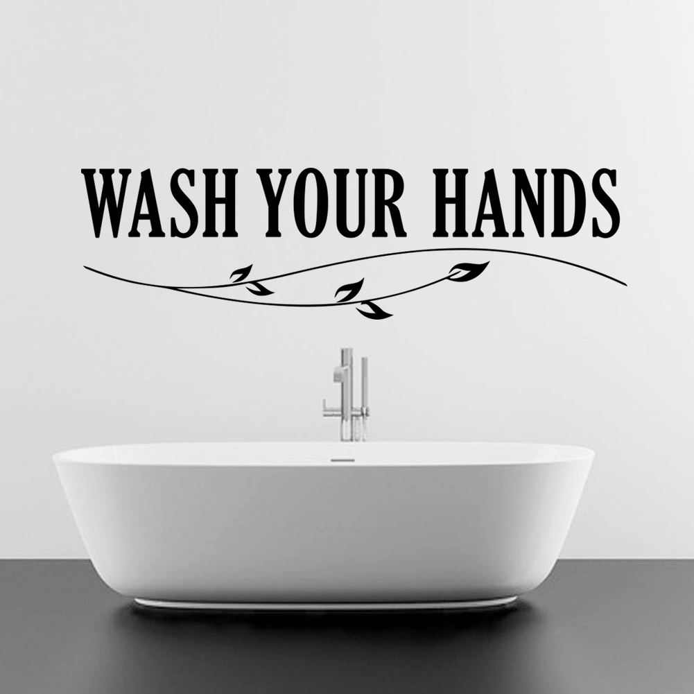 Washing bathroom walls - Wash Your Hands Letters Wall Art Decals For Bathroom Toilet Decoration Removable Diy Stickers Vinyl Black
