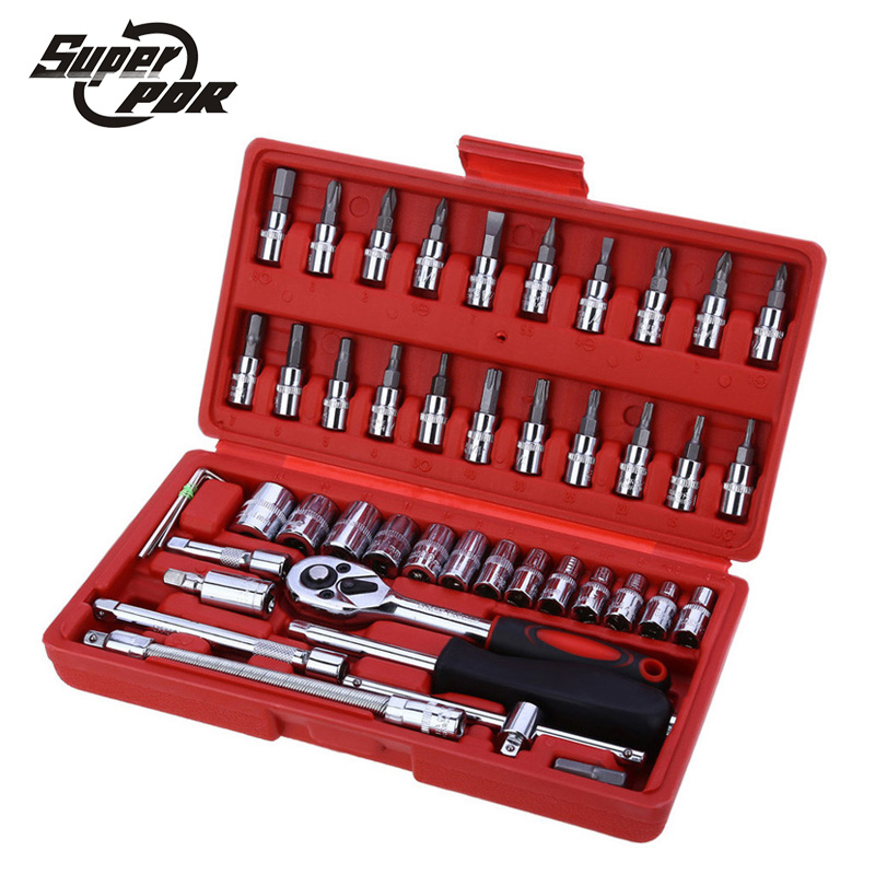 Super PDR Socket Set Repair Tool Kit 46pcs/set Car Repair Tool Ratchet Torque Wrench Automobiles Tools Kit Tool Kit For Car hot combination socket set ratchet tool torque wrench to repair auto repair hand tools for car kit a set of keys yad2001