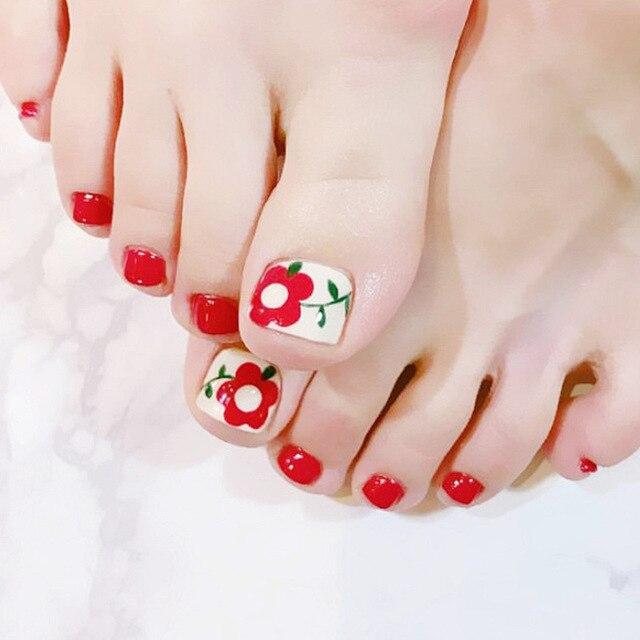 Elegant 24pcs/set Simple red flower pattern design finished toes ...