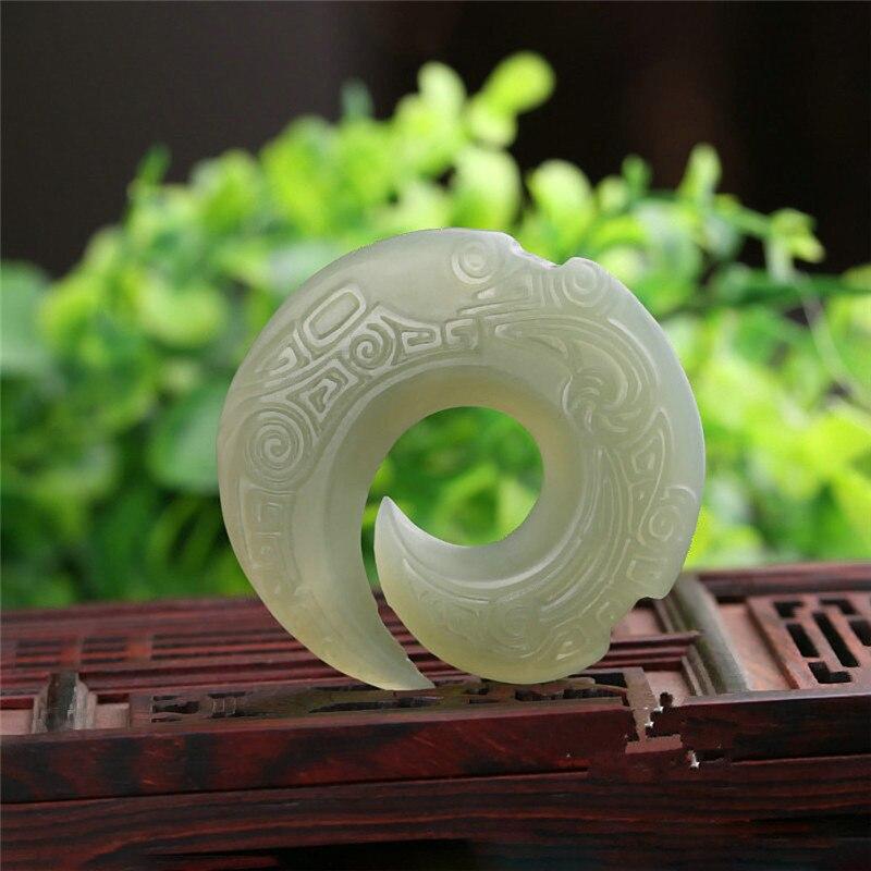 Hetian jadéite naturelle tourne le jour pendentif fleur et riche exquis sculpté pendentif chanceux pour hommes ou femmes collier livraison directe