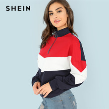 419c0b23f5 SHEIN Multicolor Minimalist O-Ring Zip Front Cut And Sew Stand Neck Raglan  Sleeve Sweatshirt Autumn Women Casual Pullovers