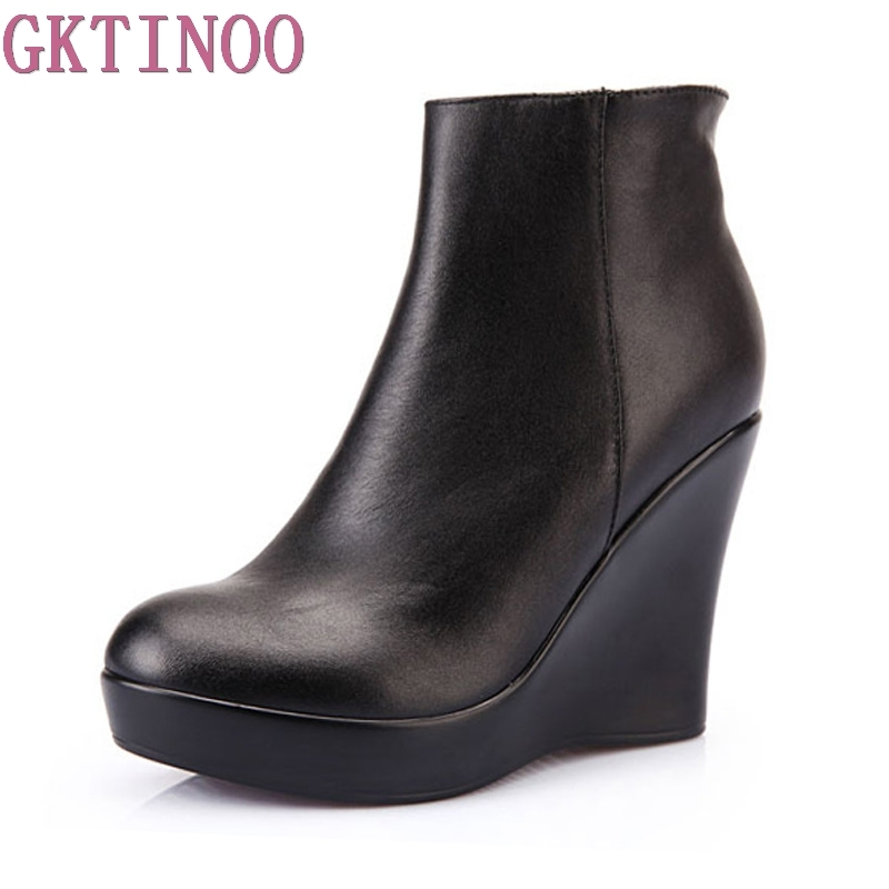 2019 Genuine Leather Autumn Winter Boots Shoes Women Ankle Boots Female Wedges Boots Women Boot Platform Shoes