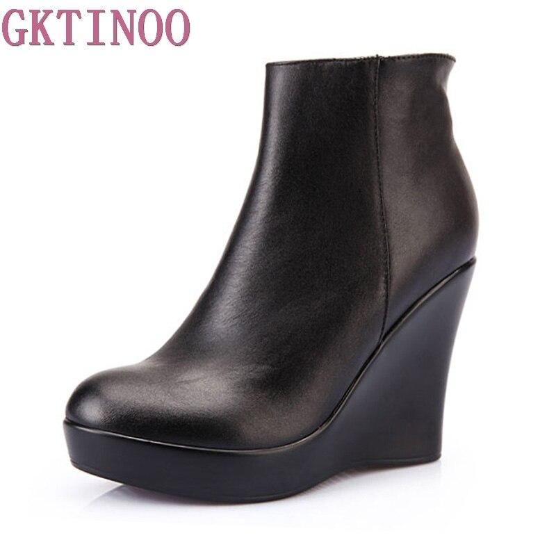 2019 Outono Couro Genuíno Sapatos Botas de Inverno Mulheres Tornozelo Botas Femininas Cunhas Botas para Mulheres Sapatos de Plataforma de Inicialização