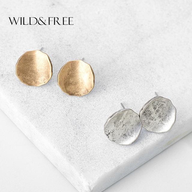 Boucles d'oreilles rondes en alliage de Zinc Vintage pour femmes rétro Antique or argent Simple Europe boucles d'oreilles bijoux femmes Brincos
