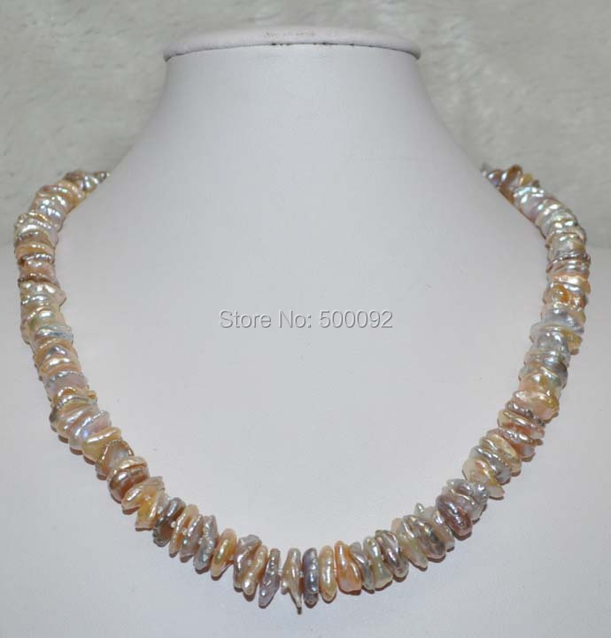 Baroque 9 12mm Natural Keshi Cultured Pearl necklace