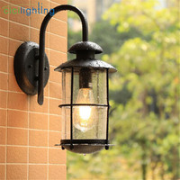Outdoor Garden Porch Wall Lights IP54 E27 100 240V black glass shade exterior wall sconces Waterproof lamp for front door fence