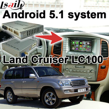 Android 6.0 de navegación GPS box para Land Cruiser LC100 etc interfaz de vídeo con GVIF LVDS espejo enlace youtube waze iGO yandex
