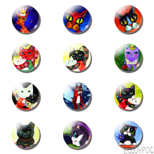 12pcs Cartoon Lovely Cat Fridge Magnet Kawaii Kitten Anime Kids Glass Dome Note Holder Magnetic Refrigerator Stickers Home Decor anime avatar monster pet thumbnail funny spoof taste fridge magnet colourful squishy waterproof stickers kawaii toy recyclable