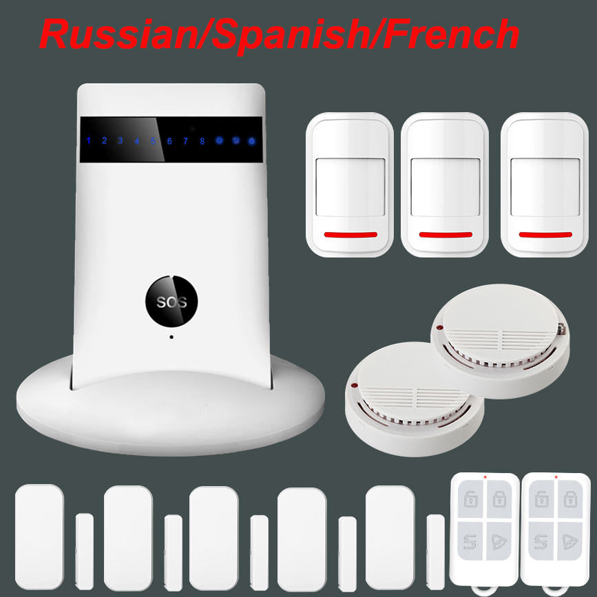 Wireless 433MHz GSM SMS Home Burglar Security Alarm System Detector Sensor Kit  with Smoke Sensor gsm lcd wireless 433 smart burglar security alarm system detector sensor kit remote control auto dial sms outdoor siren
