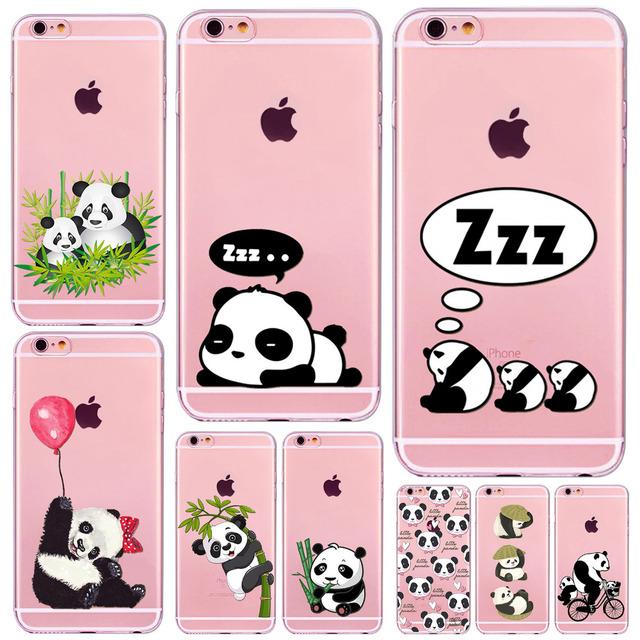Cute Cartoon Animal Panda Case For Iphone 6 6S 7 SE 5 5S 6Plus 7Plus 4 4S